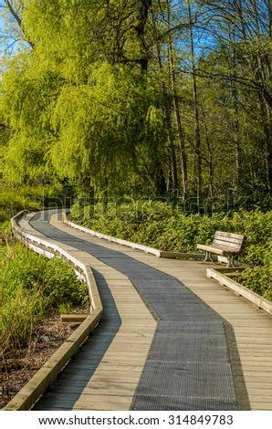 Fragment of Deer Lake trail in Vancouver, Canada. - stock photo