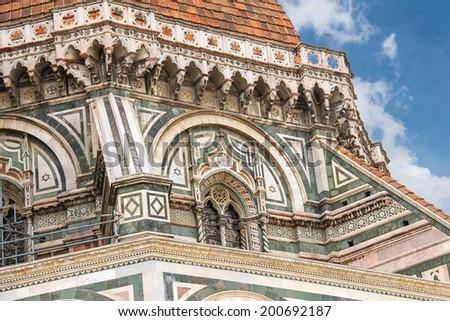 Fragment of facade Duomo Santa Maria del Fiore, Florence, Italy - stock photo