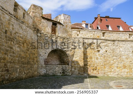 Fragment Of Fortified Wall In The Old City Of Cluj-Napoca, Romania - stock photo