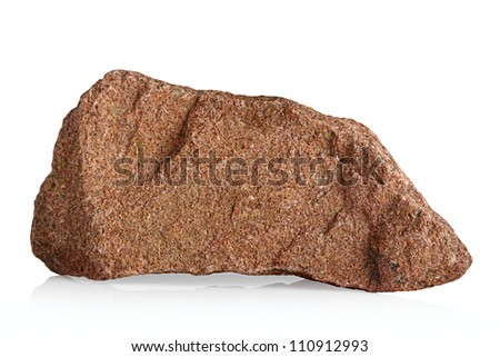 Fragment of granite on a white background. - stock photo