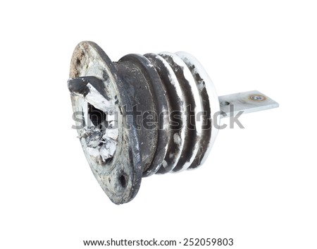 Fragment of insulators for High Voltage destroyed by exposure to short-circuit current. isolated on white background - stock photo