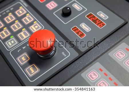 Fragment of modern ship control panel on the captain bridge. Selective focus, shallow DOF - stock photo