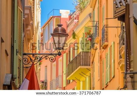 Fragment of Monaco Village, Monaco, France. Narrow streets in Old Town. - stock photo
