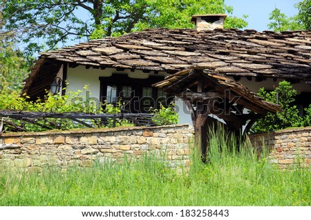 Fragment of old traditional Bulgarian house in Bozhentsi village - stock photo