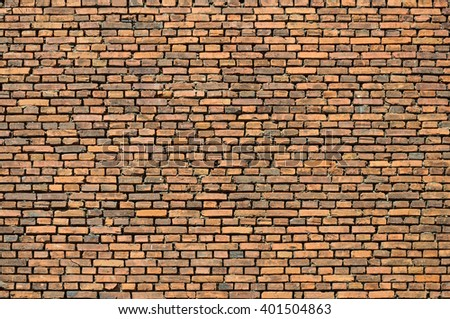 Fragment of old vintage brick wall background - stock photo