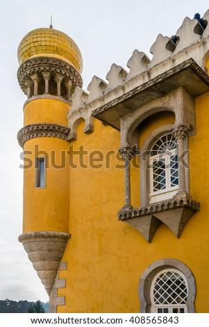 Fragment of Pena National Palace (Palacio Nacional da Pena) - Romanticist palace in Sao Pedro de Penaferrim. Sintra, Portugal. Palace - UNESCO World Heritage Site and one of Seven Wonders of Portugal. - stock photo
