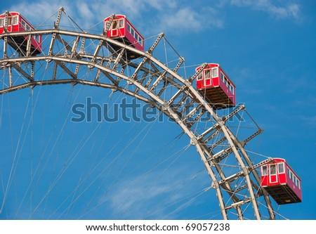 Fragment of Prater - giant old ferris wheel in Vienna, Austria. - stock photo
