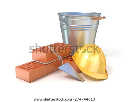 Fragment of red brick wall, trowel, metal bucket and safety helmet, isolated on white background. Concept of construction industry - stock photo
