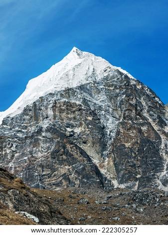 Fragment of ridge Mahalangur Himal near Cho Oyu in the area of Cho Oyu - Gokyo region, Nepal, Himalayas - stock photo