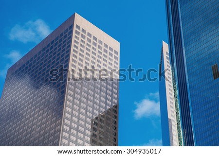 Fragment of skyscrapers in downtown LA, Los Angeles - stock photo