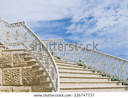 Fragment of stairs of the Cameron Gallery in Tsarskoe Selo. Pushkin town near St. Petersburg, Russia - stock photo