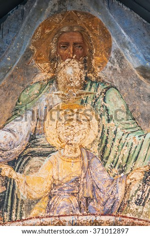 Fragment of the Christian mural painting in Thikhvin monastery, Russia. - stock photo