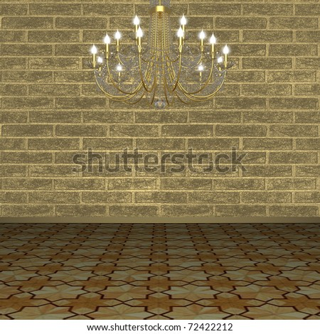 Fragment of the interior. Chandelier against the background of a brick wall. (3D visualization). - stock photo