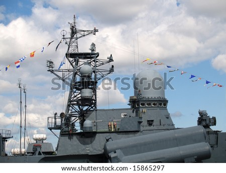 Fragment of the military sea ship - stock photo