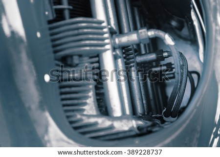 Fragment of turbine engine, small turboprop - stock photo