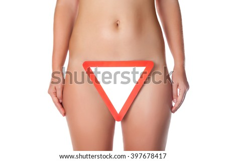 Fragment of woman body with road signs - stock photo