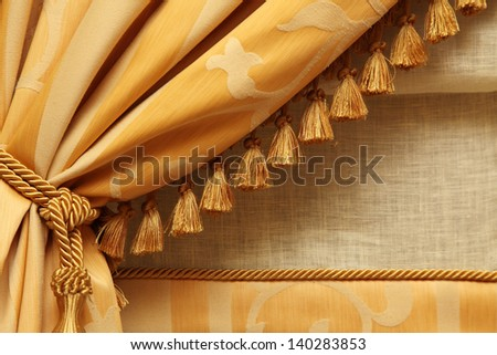 fragment yellow fringed curtains - stock photo