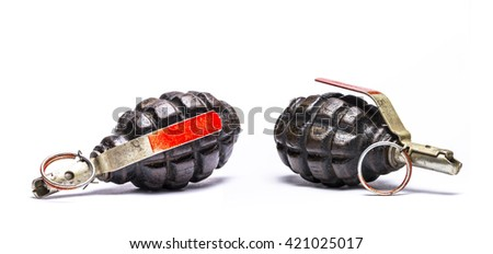 Fragmentation grenade isolated on white background. Set. - stock photo