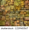 fragmented orange,pink and yellow square tile grunge pattern backdrop - stock photo