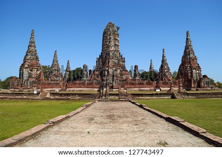 Fragments of architectural objects Wat Chai Watthanaram - stock photo
