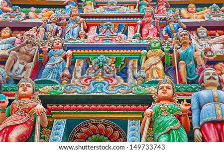 Fragments of decoration of the hindu temple - stock photo