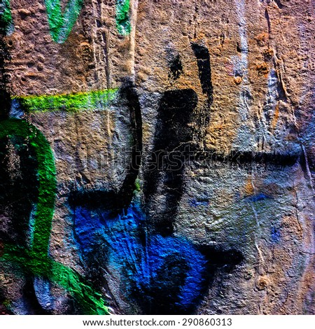 fragments of pictures of graffiti in the urban environment - stock photo