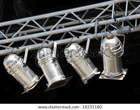 Fragments of stage illumination - stock photo