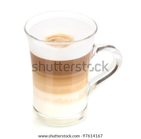 Fragrant ?appuccino latte in glass cup isolated on white - stock photo
