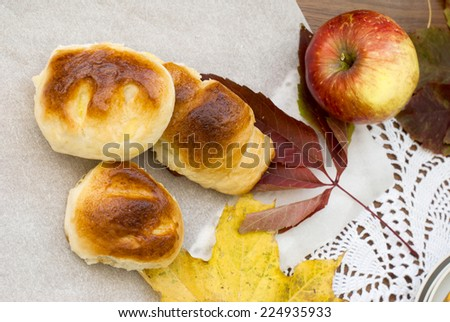 fragrant biscuits and apples - stock photo