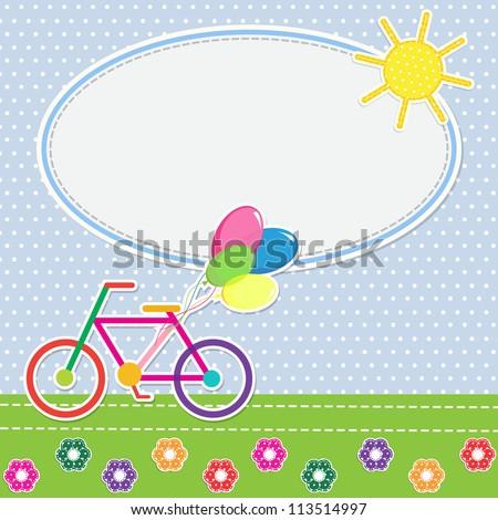 Frame colorful bike. Raster version - stock photo