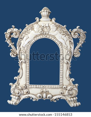 Frame - decorated frame with angels and children - stock photo