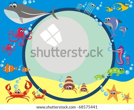 Frame Design with Under Water Animals & Breathing Bubbles - Octopus, Tropical Fish, Dolphin, Turtle, Jellyfish, Whale, Sea Horse, Star - stock photo