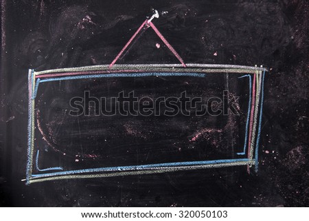 Frame for an advertising sign drawn with chalk on blackboard - stock photo