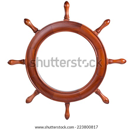 Frame for the image in the form of the ship's steering wheel. isolated - stock photo
