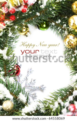 Frame from christmas branch over white and sample text - stock photo