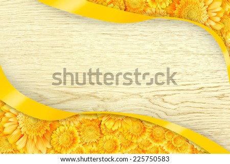 Frame from flowers on wood background - stock photo