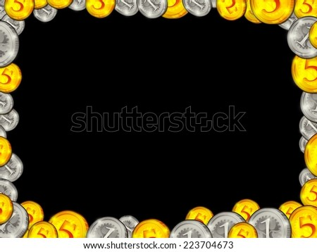Frame from golden silver coins on black background illustration - stock photo