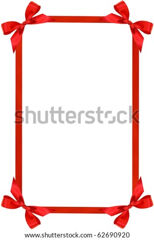 Frame from red bow and ribbons isolated on white - stock photo
