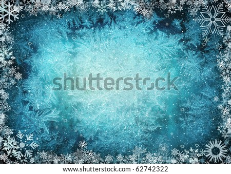 Frame from snowflakes with space for text - stock photo