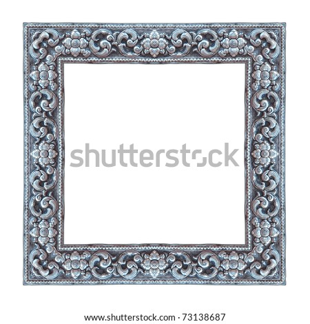 Frame handmade silver, Metal relief work pattern - stock photo