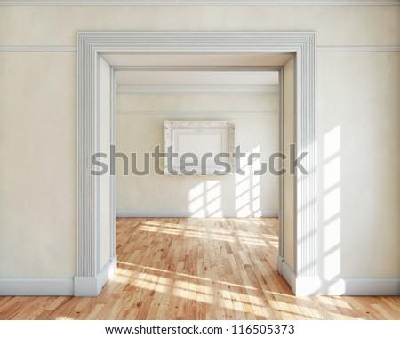 Frame in empty classy interior - stock photo