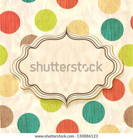 Frame in retro seamless background with circles - stock photo