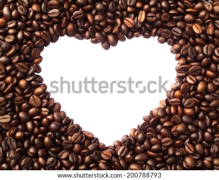Frame in the shape of heart from coffee beans - symbolizes love, the love of coffee - stock photo