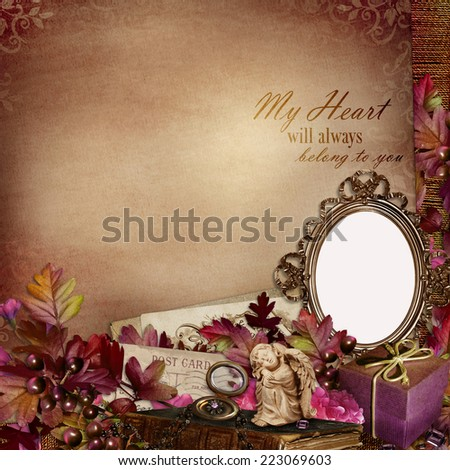 Frame in the Victorian style with retro decorations on vintage background - stock photo