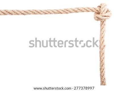 frame knot rope Isolated on white background - stock photo