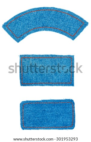 Frame, label made denim of  with space for text, isolated on white background - stock photo