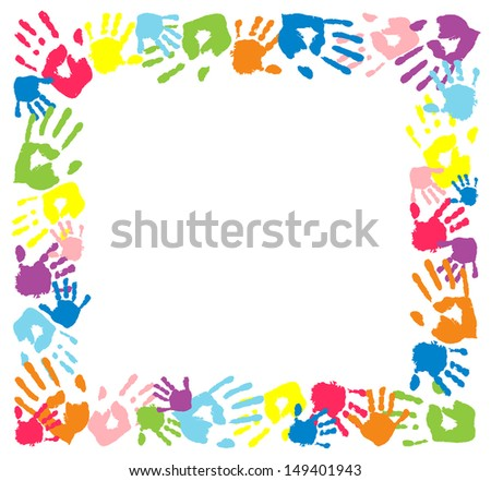 Frame made from color handprints. - stock photo