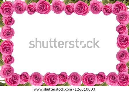 Frame made of beautiful pink roses, isolated on white - stock photo