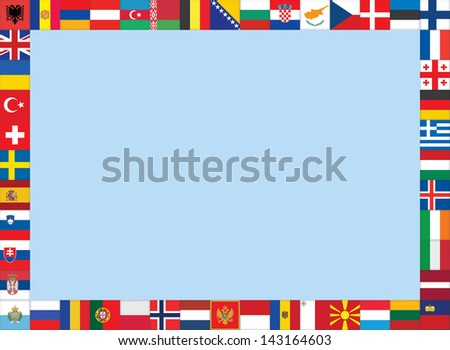 frame made of European flags icons - stock photo