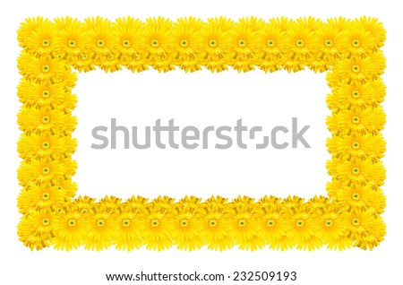 frame made of gerbera flower isolated on white background - stock photo